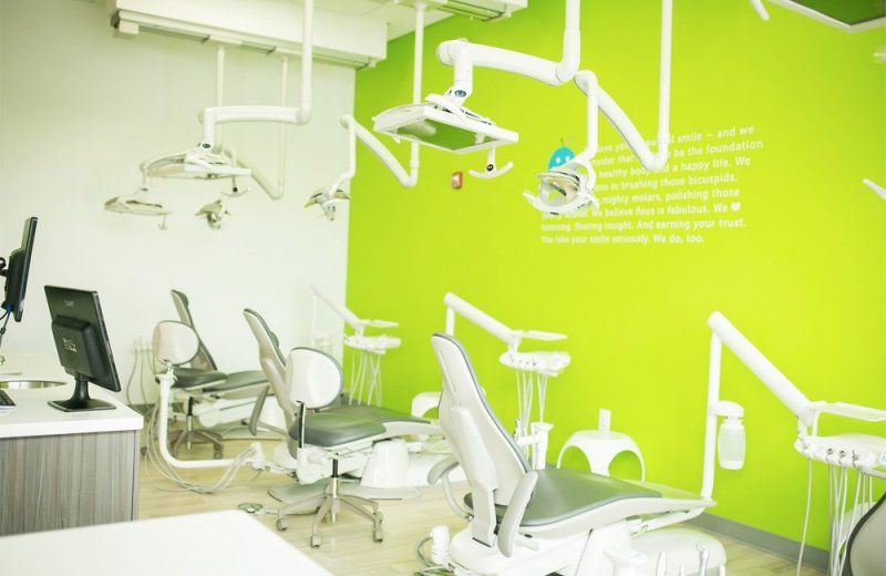 costa family and cosmetic dentistry examination room with three patient chairs
